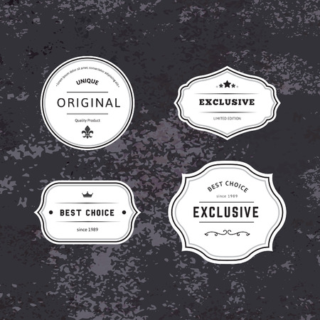 minimalist style: Set of Hipster Labels with Frames. Authentic Retro Vector Tags Design. Minimalistic Craft Beer Badges.