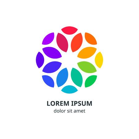girotondo bambini: Cerchio colorato progettazione del logo aziendale. Vettore geometrico Fiore Simbolo. Arcobaleno isolato Icona. Minimalista Spectrum Elemento Concept.