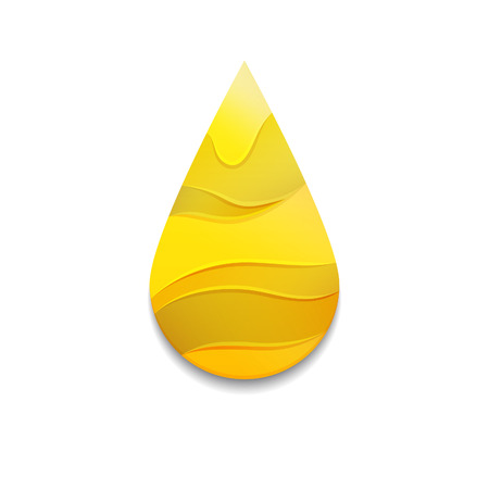 Yellow Oil Drop with Waves. Golden Logo Symbol. Vector Honey Icon. Colorful Decorative Petrol Illustration.