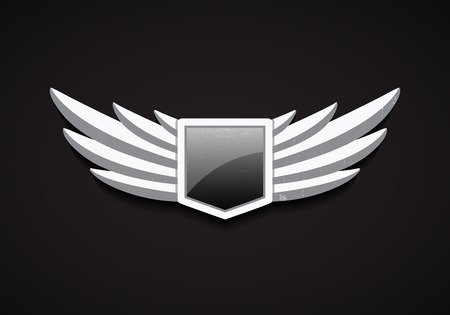 pilot: Vector Emblem with Stone Wings and Glossy Shield with Glass. 3D Logo Symbol. Safety Icon. Illustration