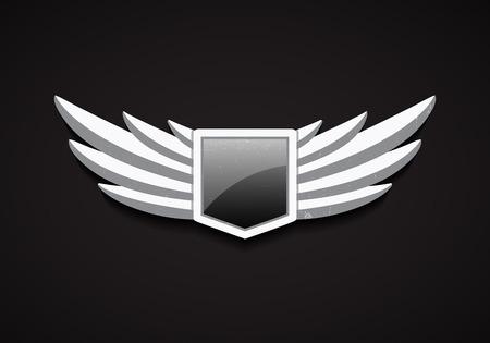 ali angelo: Vector Emblema con pietra ali e lucido Scudo con vetro. Logo 3D Simbolo. Icona di sicurezza. Vettoriali