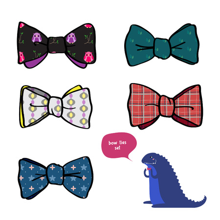 colourful tie: set of beautiful bows with different patterns