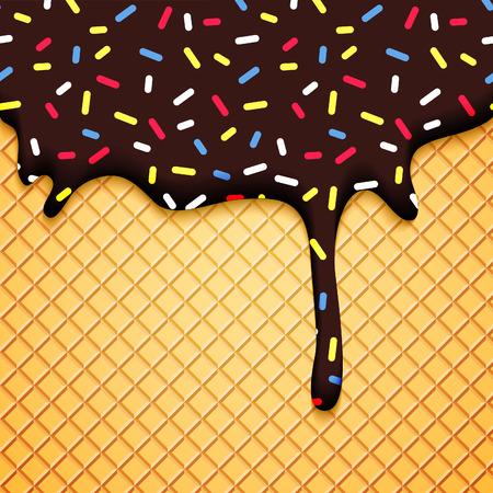 helado caricatura: Ilustración del chocolate helado con la oblea y glaseado. Fondo colorido del vector de Alimentos. Tarjeta de panadería abstracta.
