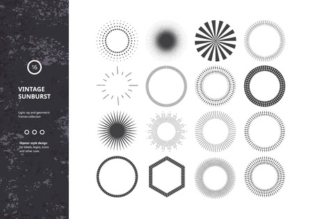 Set of Vintage Sunbursts. Vector Design Elements for Hipster Logos, Badges and Labels. Trendy Light Ray Symbols.
