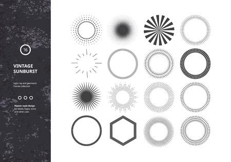 Set van Vintage Sunbursts. Vector Design Elements voor Hipster Logos, badges en labels. Trendy Light Ray symbolen. Stock Illustratie