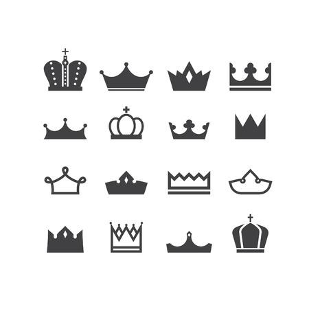 corona de princesa: Conjunto de siluetas vector coronas. Elementos para el logo, etiquetas y dise�os distintivos. Vectores