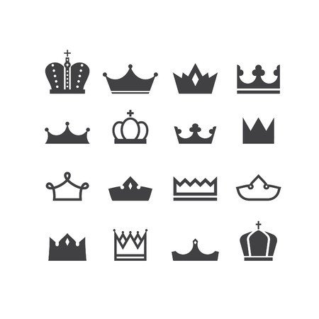 Set of vector silhouettes crowns. Elements for logo, labels and badges designs. 矢量图像