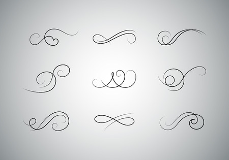 Premium Set of Vector Calligraphic Flourishes. Decorative Dividers Design.