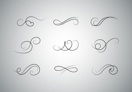 Premium Set of Vector Calligraphic Flourishes. Decorative Dividers Design.