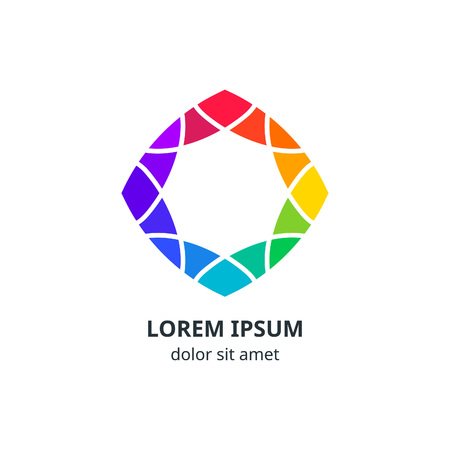 Colorful Geometric Corporate Logo Design. Vector Ornamental Symbol. Rainbow Isolated Icon. Minimalistic Spectrum Element Concept.