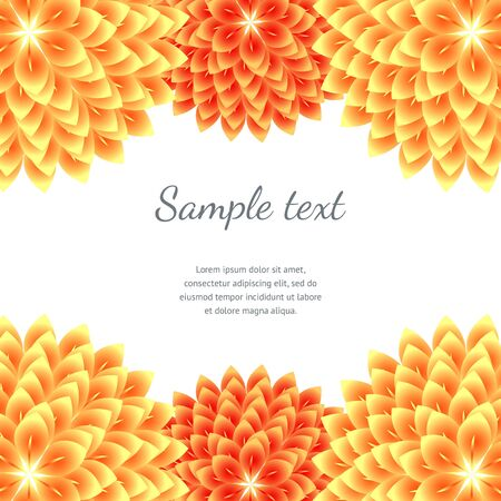 aster: Orange Abstract Floral Background. Vector borders with asters Illustration
