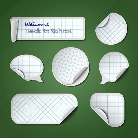 peel: Back to School Vector Banners. Checkered Peel Stickers, Labels and Tags on Green Chalkboard.