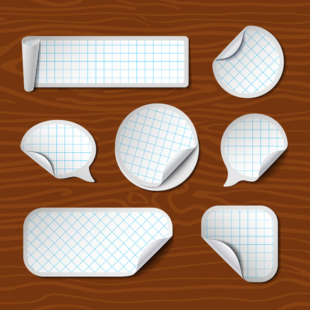 wrapped corner: Back to School Vector Labels or Banners, Educational Theme. Stickers with Squared Paper.