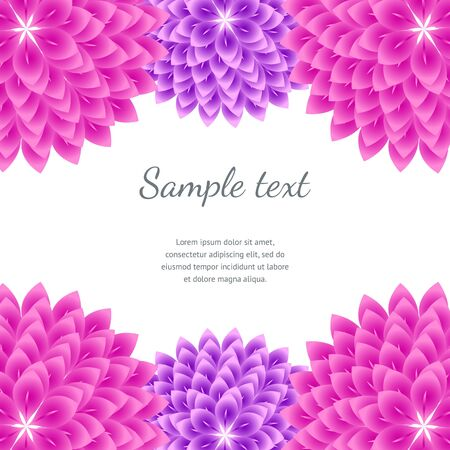 abstract pink: Pink Abstract Floral Background. Vector borders with flowers