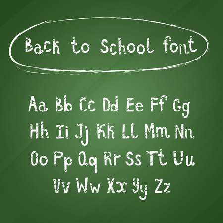green chalkboard: Hand Drawn White Calligraphic Font on Green Chalkboard. Back to School Alphabet Vector Set.
