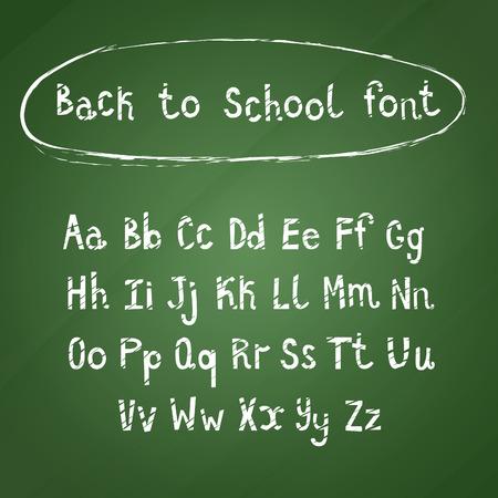 green chalkboard: Hand Drawn White Calligraphic Font on Green Chalkboard. Back to School Alphabet Vector Set.