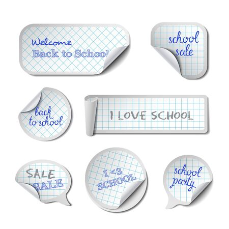 peel: School Vector Banners with Phrases. Checkered Paper Peel Stickers, Labels, Tags and Speech Bubbles.