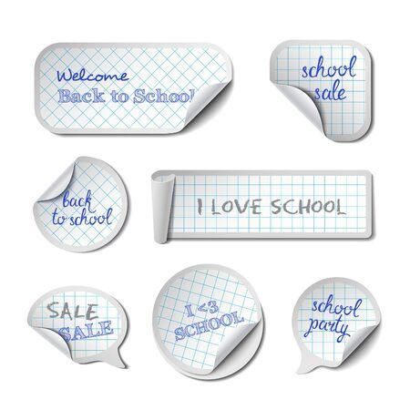 bordure de page: Scolaires Vector Banners avec des phrases. Damiers papier Peel autocollants, étiquettes, tags et Speech Bubbles. Illustration