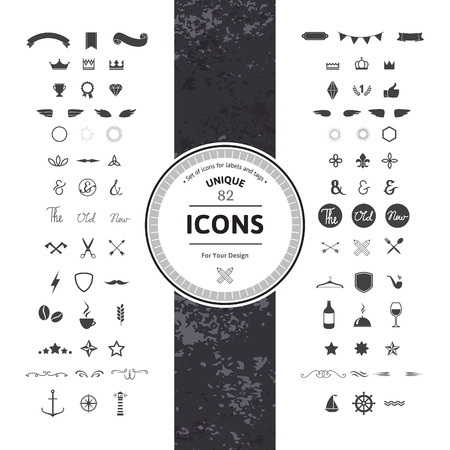 symbol decorative: Awesome Set of Hipster Icons and Symbols for Modern Labels, Tags and Badges. Vintage Classic Graphic. Collection of Retro Objects, Frames and Silhouettes.