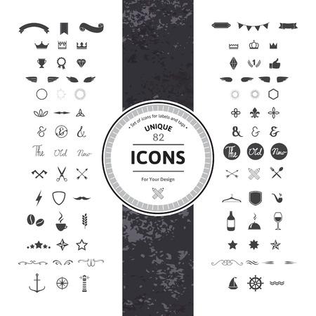 vinho: Impressionante Jogo de Hipster ícones e símbolos para etiquetas modernas, etiquetas e emblemas. Gráfico clássico do vintage. Coleção de objetos retrô, Quadros e silhuetas. Ilustração