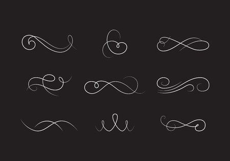 calligraphic: Vector Collection of Beautiful Elegant Flourishes. Vintage Calligraphic Elements. Abstract Swirl Decorative Dividers.