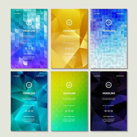 textured backgrounds: Vector Collection of Bright Colorful Blurb Banners. Mosaic, Geometric and Textured Backgrounds.