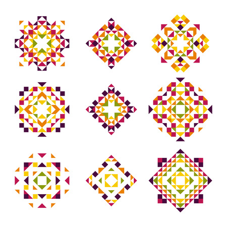 decorative patterns: Vector Collection of Geometric Decorative Elements. Ethnic Patterns for Backgrounds, Decor, Prints, Icons.