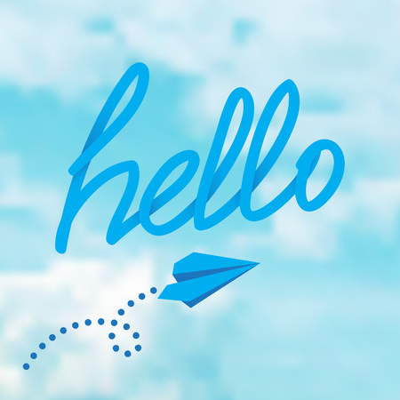 flying paper: Hello phrase on a sky with flying paper airplane. Vector illustration Illustration