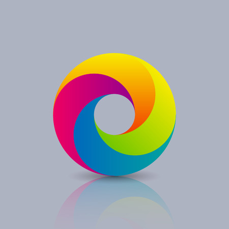 arco iris: Icono del asunto abstracto del c�rculo. muestra colorida de iconos y logotipos
