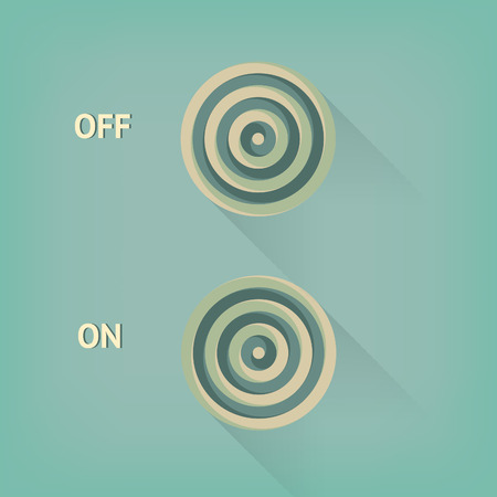 positions: two positions of vector button with long shadow