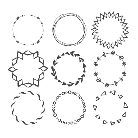 Set of Round Hand Drawn Ink Frames. Vector Decorative Borders Design. Ethnic Circle Patterns.