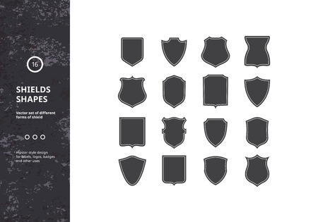 cognizance: Set of Vintage Shield Shapes. Vector Design Elements for Hipster Logos, Badges and Labels. Heraldic Symbols. Illustration