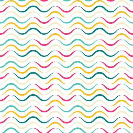 Colorful Seamless Pattern with Waves. Vector Holiday Wrap Texture. Bright Funny Background with Lines. 向量圖像