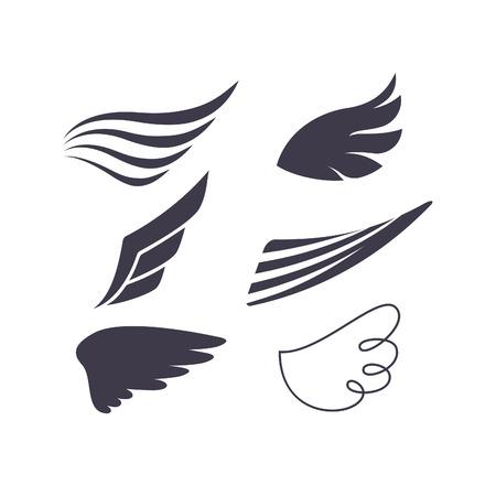 piloto: Vector Conjunto de las alas del pájaro Siluetas. Elementos para el logotipo, etiquetas y distintivos diseños.