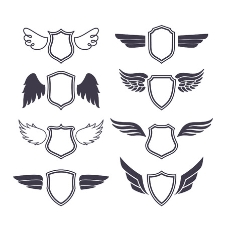 Shields with Wings. Vector Silhouettes. Heraldic Design Elements for, Emblems, Badges and Labels.