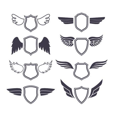 Shields mit Flügeln. Vector Silhouetten. Heraldische Design-Elemente für, Embleme, Abzeichen und Etiketten. Vektorgrafik