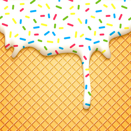 helado cucurucho: Cono de helado ilustración vectorial con goteo esmalte blanco y oblea Textura. Resumen de antecedentes de Alimentos.