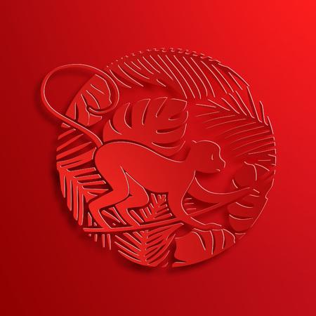 nouvel an: Vecteur traditionnel papier découpé chinois Singe. Nouvel An Symbole décoratif. Illustration Oriental Culture vacances. Peu Ape sur Jungle avec des lianes et de palmiers.