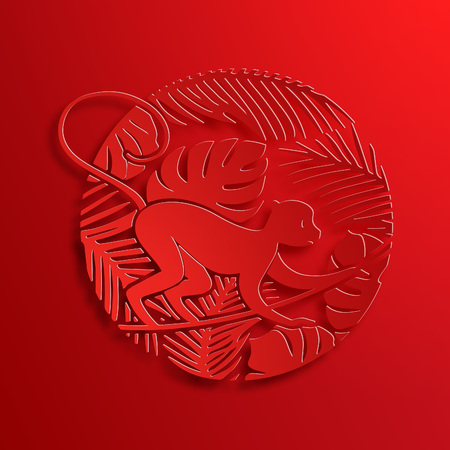 chinese: Vector Traditional Chinese Monkey Paper Cutting. New Year Decorative Symbol. Oriental Culture Holiday Illustration. Little Ape on Jungle with Lianas and Palms.