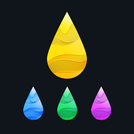 attar: Yellow Oil Drop with Waves. Golden Logo Symbol. Vector Honey Icon. Colorful Decorative Petrol Illustration.