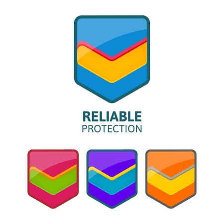 satisfied customer: Reliable protection colorful shield with mark.Business logo template. Illustration