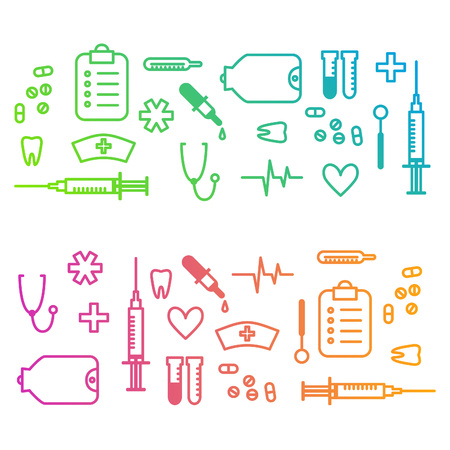 vector medical: Medical outline background with stylised clinic instruments and symbols. Vector illustration for your design. Illustration