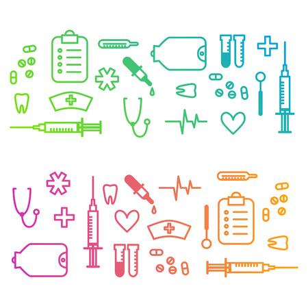 medical instruments: nền phác thảo y tế với các dụng cụ phòng khám cách điệu và biểu tượng. Vector hình minh họa cho thiết kế của bạn. Hình minh hoạ