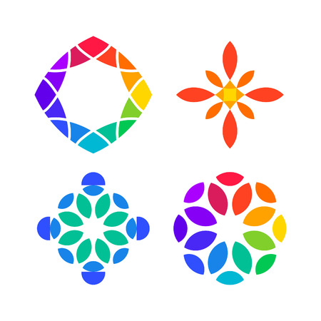 Set of colorful Design Elements. Rainbow Flat Abstract Logo Art.
