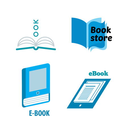 document icon: Vector Set of Paper and eBooks Icons. Isolated Book Logo Design Elements. Education Symbols.