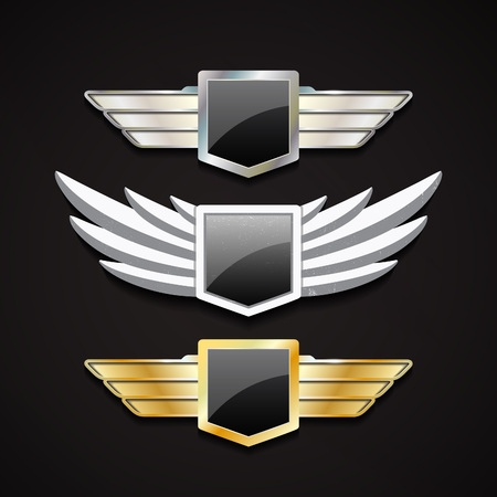 Set of Metal and Stone Wings with Glossy Shields. Vector Elements for Logos, Emblems and Badges.