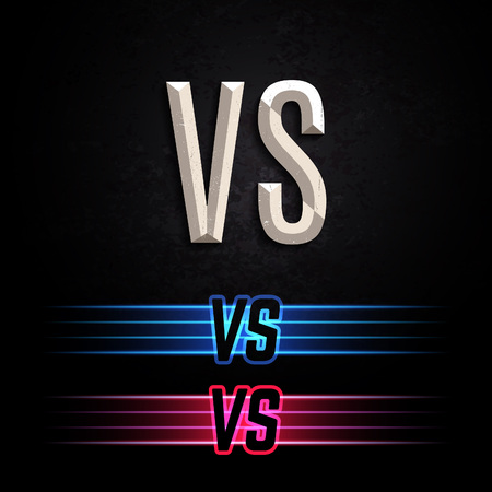 Stone and Colorful Neon Versus Logo. VS Vector Letters Illustration. Competition Icon. Fight Symbol. Ilustração