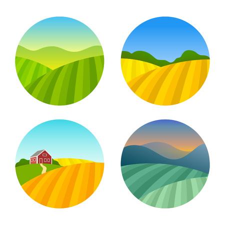 Set Farm Felder Landschaften. Landwirtschaftliches Bauernhaus auf Gräser Felder mit Mountains. Landwirtschaft im Dorf Illustrationen. Vektorgrafik