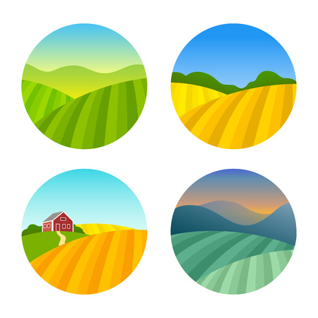 to field: Set of Farm Fields Landscapes. Rural Farmhouse on Grasses Fields with Mountains. Agriculture in Village Illustrations. Illustration