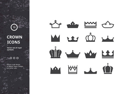 crown: Crowns Icons. Vector Set of Royal Symbols and Signs. Hipster Designs for Labels, Badges and Logos.
